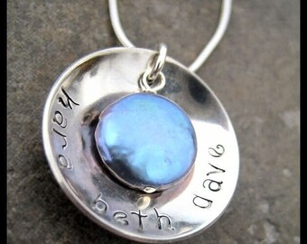 Custom Hand Stamped Dish and Coin Pearl Mother's Necklace