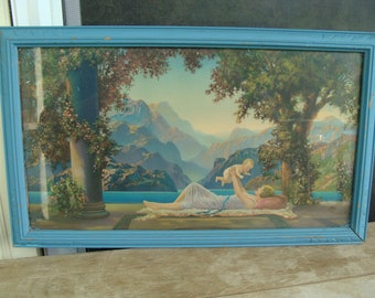 Antique Art Nouveau Color Print Framed In Wood With Glass Frame R Atkinson Fox Loves Paradise 1920's