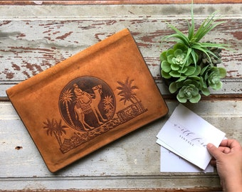 Vintage Suede Notebook Cover with Desert Camel Scene, Vintage Brown Suede Leather Notepad Cover