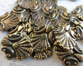 "Vintage gold plate brass stamped scallop design blanks,3/4""x 5/8th"",20pcs-KC465G"
