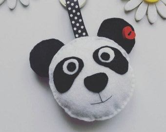 Handmade Felt Panda Face Keyring / Keychain / Hand Sewn / Quirky / Gift For All / Original Felt Make / Hand Cut