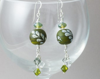 Olive Leaf Lampwork Earrings