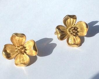 Vintage Trifari Earrings Clip On Earrings Flower Earrings Flower Blossom Jewelry Vintage Jewelry