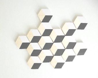 Decorative wall set of 16 hexagons trompe l'oeil - Scandinavian inspiration