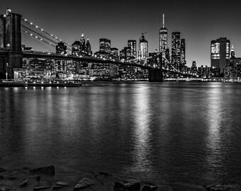 Brooklyn Bridge,Manhattan,City,Manhattan Skyline,Sunset,Blue,Lights,Home Decor,Wall Art,Office Decor,Oversize Canvas Option,Black and White