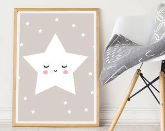 Nursery Wall Art Girls Bedroom Nursery Posters, SALE Nursery Prints Girl, little star grey Wall Art, Baby Girl Wall Print, Printed Dreams