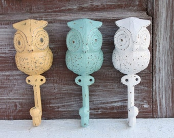 3 Owl Hooks, Owl Nursery Decor, Cast Iron Coat Hooks, Woodland Nursery, Baby Shower Gift, Owl Wall Hooks, Decorative Owl Decor