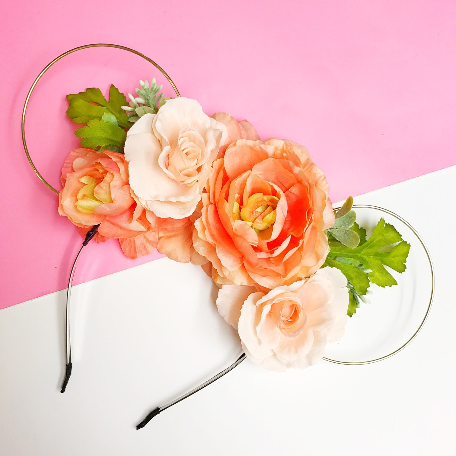 Double sided peach flower crown and gold wire mouse ears zoom izmirmasajfo