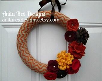 Chevron Wreath, Fall Wreath, Fall Burlap Wreath, Autumn Wreath, Orange Chevron, Fall Decor