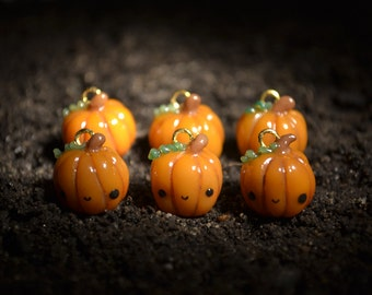Orange Pumpkin Charm - Kawaii Miniature Food Polymer Clay