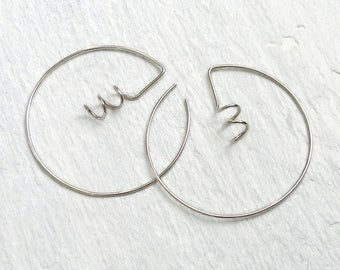 Large Silver Hoop Earrings, Silver Wire Hoops, Modern Silver Earrings, Statement Hoop Earrings, Ready To Ship, Free UK Shipping