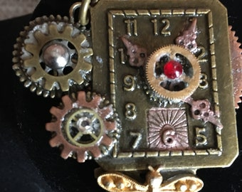 Watch Clock with Dragonfly and Swavorski Crystals Steampunk Inspired Style (Pendant Only)