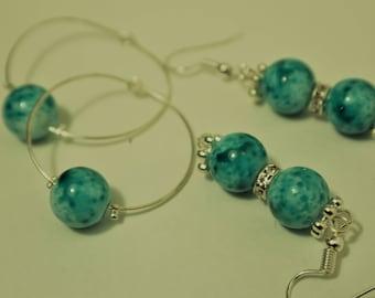 Blue/Green Marble Earrings with Rhinestones
