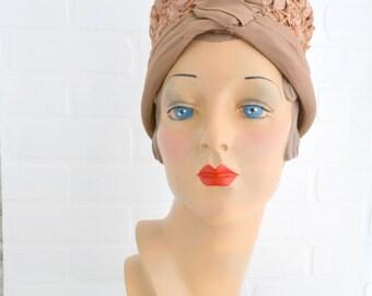 1940s Marilyn Tan Straw Toque Hat
