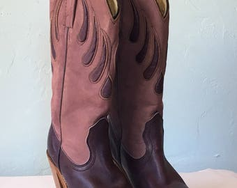 Vintage Frye Western Leather Boots Lavender and Purple - Women's Size 5.5