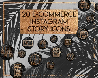 20 Tropical Black and Rose Gold eCommerce Instagram Stories Highlights Covers - onlie shop insta story icons, shop icons, business Instagram