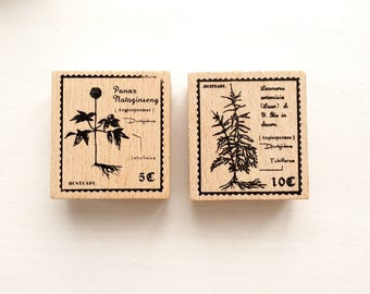SALE 40% OFF Herb Rubber Stamp // Wooden Rubber Stamp