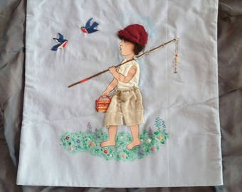 Decorative pillow - unique - fisherman walking