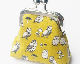 Owl Coin Purse, Small Snap Change Pouch, Mustard