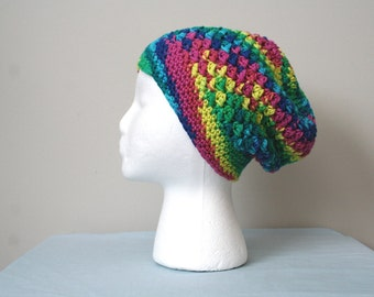 SALE Crochet Slouch Hat, Crochet Slouchy Beanie, Multicolored Crochet Beanie