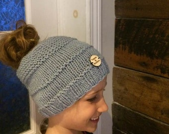 Pony tail hat- handmade knit