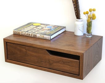 Walnut Hanging Nightstand / Bedside Table