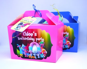 Personalised Trolls Party Boxes, Bags, Favor, Treat, Goodie, sweets, Gift Boxes, Pink, Blue