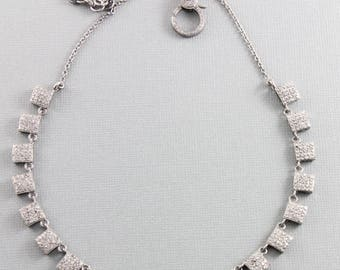 Pave Diamond Necklace, Pave Diamond Square Necklace w/Diamond Clasp, Adjustable to 16 and 18 inches, Diamond Fancy Necklace (DCH-040)
