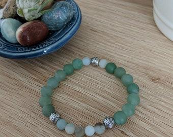 Matte green aventurine with amazonite accents bracelet