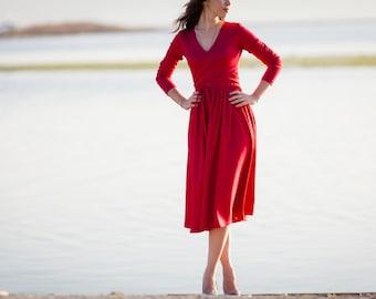 Midi red dress with wrap around top