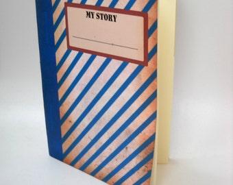 Grunge Stripey Notebook, Retro Notebook, Blank Striped Notebook, Geometric Notebook, Altered Art Notebook