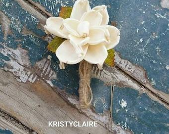 Sola Flower Boutonniere, Wood Flower, Ivory, Cream, Gardenia