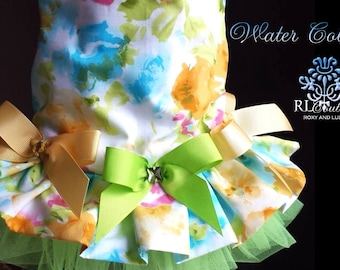 Spring Summer Water Colors Dog Harness Dress