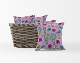 Purple Llama Throw Pillow, Accent Pillows