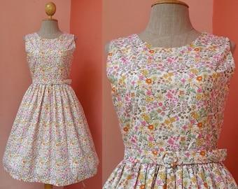 Sleeveless Dress Women 50s Dress Pin Up Dress Rockabilly Dress Casual Dress Sundress Floral Dress Flower Dress Cotton Dress Small Size 4