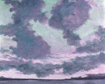 At the Break of Dawn - Landscape Painting Original Painting on Canvas 8x8 Low Horizon Dark Clouds Pink Sky