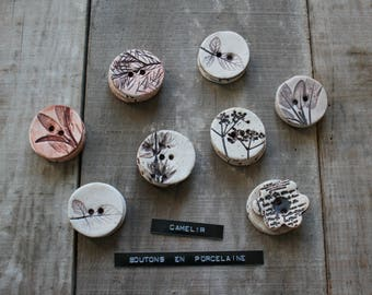 set of 3 porcelain buttons