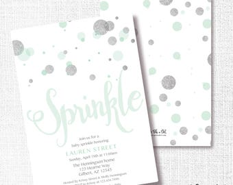 Mint Silver Baby Sprinkle Invitation, Printable, Confetti Sprinkle Invite, green and silver glitter, Modern, Simple, Neutral, Bubbles