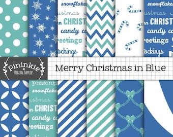 Christmas Digital Paper, Blue Digital Scrapbook Paper, Christmas Scrapbook Paper, Winter Digital Paper, Snowflake Digital, Commercial Use
