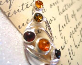 AMBER vintage pendant sterling silver necklace vintage amber