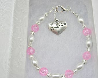 Pink Flower Girls Bracelets, Junior Bridesmaids Jewelry, Maid of Honour, Maid of Honor Gifts, Wedding Party Accessories