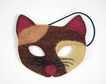 Felt Cat Mask, Calico Cat Mask, Felt Children's Mask, Fair Trade Mask