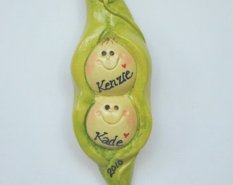 Personalized 2 Peas in Pod Christmas Ornament