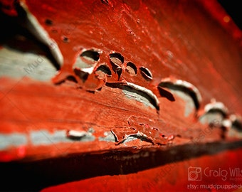 XL-A2 Abstract Photo PRINT Rustic RED Perfect housewarming Gift Paint Peels weathered Natural MuddpuppieDesigns modern wall art macro