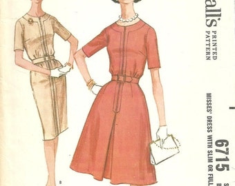 McCalls 6715 / Vintage 60s Sewing Pattern / Dress / Size 16 Bust 36