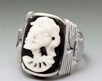Carved Bone (bovine) Skull Bride Cameo Sterling Wire Wrapped Ring - Made to Order and Ships Fast!