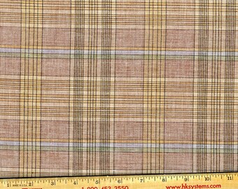 Glen Plaid shirting, subtle heather tones of brown cream tan blue, yarn dyed poly cotton blend Some texture