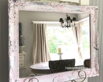 Pink and White Chippy Paint Mirror, Vanity Mirror, Farmhouse Bathroom Mirror