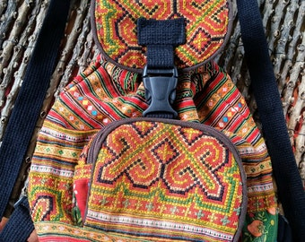 Small Backpack, Kid's Bag in Red Mixed Hmong Embroidery