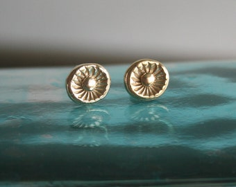 Flower Stud Earrings - Gold Stud Earrings - 18k Gold Plated Studs
